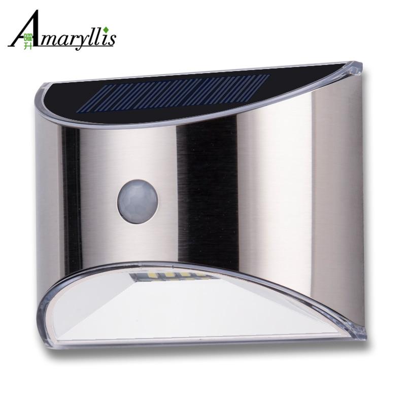 Новый Дизайн солнечный свет 4 светодиодный солнечные лампы движения PIR Сенсор Водонепроницаемый безопасности Освещение для наружного ограду сада