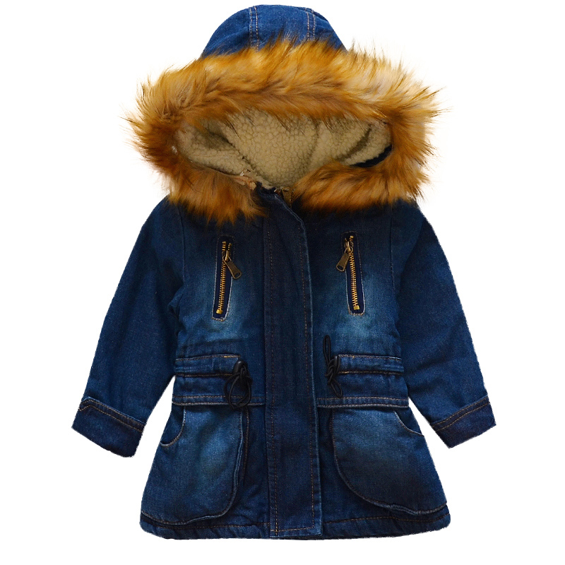 Toddler baby girl winter denim blue trench jean jacket with furfleece hooded parka coat cowboyoutwear windbreakerkid boy clothes blue hooded trench coat with drawstring waist