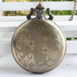 Винтаж бронза антиквариат Мода кварцевые двойной хорошее качество Современные часы карманные часы подарок pok5784