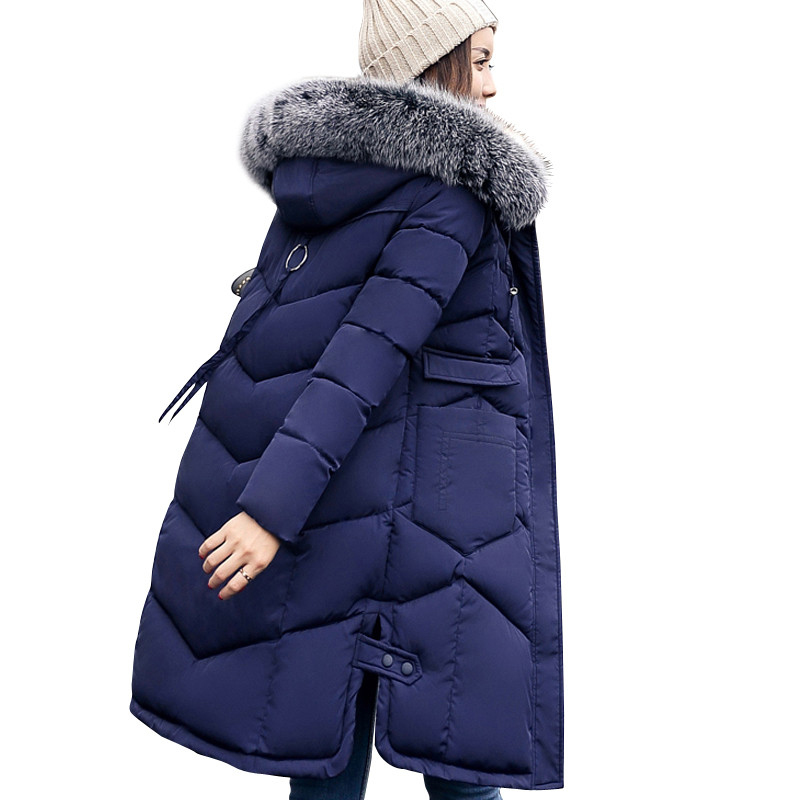 2017 Winter Women Hooded Coat Fur Collar Thicken Warm Long Jacket women's coat girls long slim big fur coat jacket Down Parka olgitum women s winter warm in the long section of slim was thin winter clothes tops down jacket big hair collar cc056