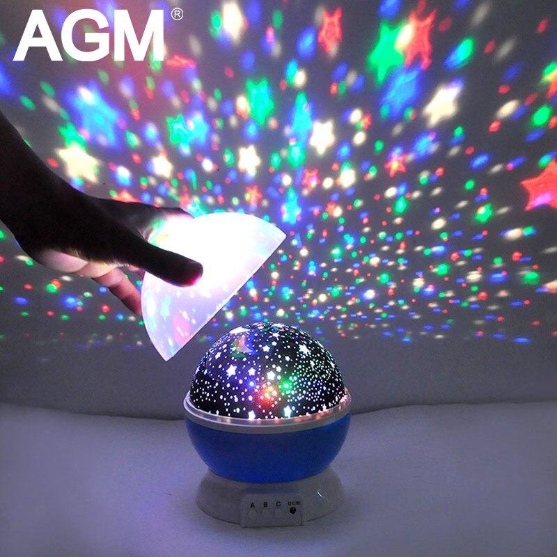 AGM estrellas cielo estrellado de luz LED proyector de la estrella Luna lámpara de mesa Luminaria novedad Nightlight para niños bebé