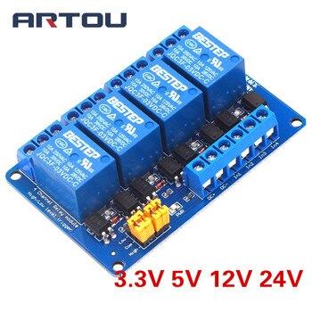 3.3V 5V 12V 24V 4 チャンネルリレーモジュール高および低レベルのトリガデュアルフォトカプラ絶縁リレーモジュール