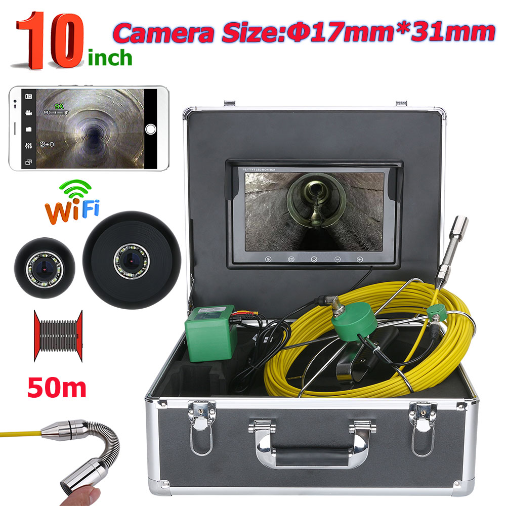 50M <font><b>10</b></font> inch WiFi Wireless 17mm IP68 Waterproof Drain Pipe Sewer Inspection Camera System <font><b>1000</b></font> TVL Camera with 8pcs LED Lights image