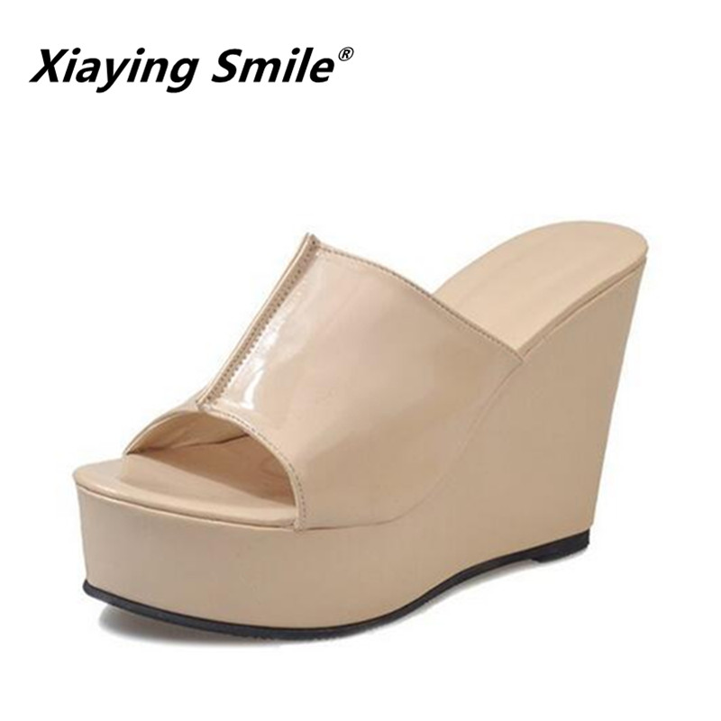 Xiaying Smile Summer Turner-over Edge Woman Slippers Shoes Women Platform Wedges Heel Fashion Casual Super High Women Shoes xiaying smile woman sandals shoes women pumps summer casual platform wedges heels buckle strap flock hollow rubber women shoes