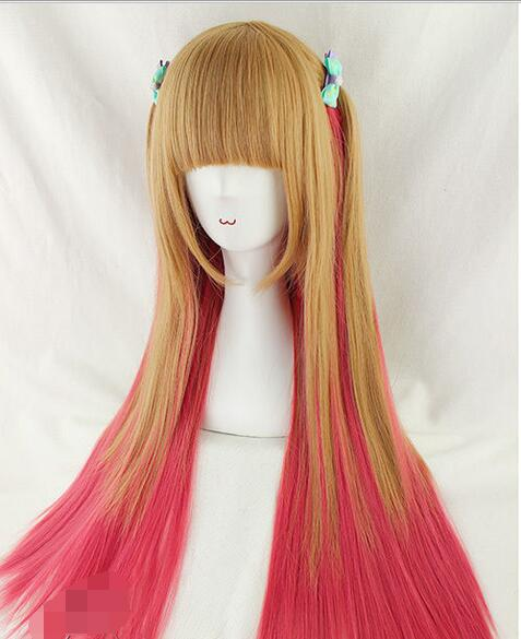 Hot Sell!  Harajuku Cosplay Women's Wig Lolita Blonde Red Gradient Daily hair Long straight