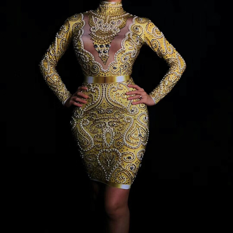 Delle donne di Nuovo Modo Brillante di Strass Perle Sexy Del Vestito A Maniche Lunghe Oro Del Vestito Femminile Cantante Celebrare Abiti Da Sera di Usura