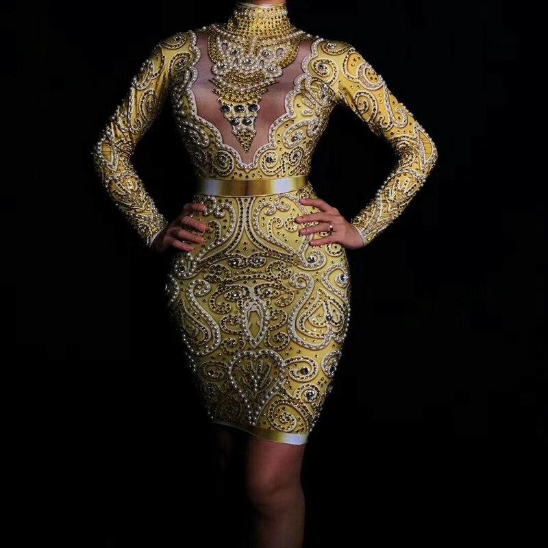 Femmes nouvelle mode brillant strass perles robe Sexy manches longues robe en or femme chanteuse célébrer tenue de soirée robes
