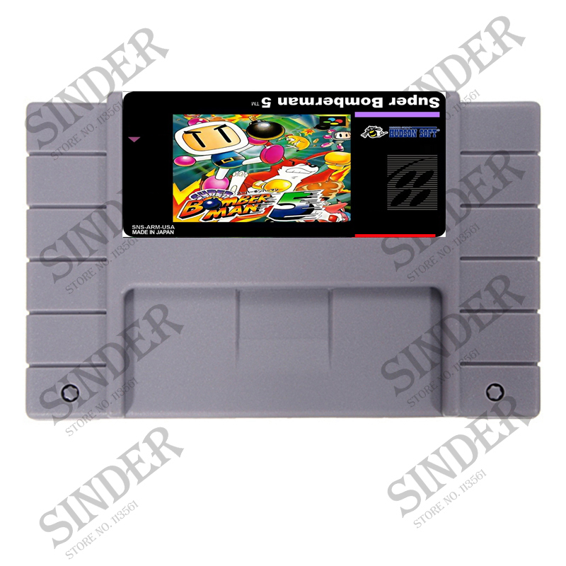 Super Bomberman 5 USA Version 16 Bit Big Gray Game Card for NTSC Game Players