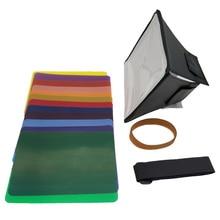 Fodling Faltbare Mini Softbox Blitz diffusor Weichen box + 12pcs Farbe Balance Gel Filter Für Canon/Nikon/sony EOS Blitzgerät
