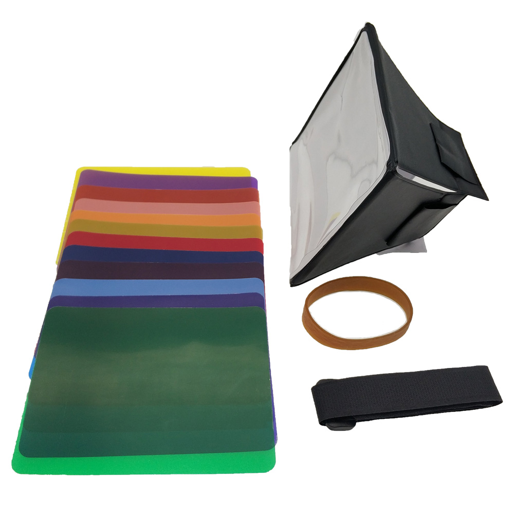 Fodling składany Mini Softbox Flash dyfuzor miękkie pudełko + 12 sztuk balans kolorów żel filtr do aparatów canon/Nikon/Sony EOS Speedlight