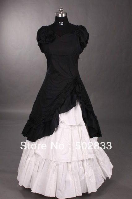Classic Black and White Ruffled Gothic Victorian Dress GTL-0089