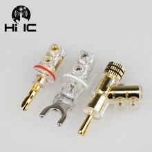 2 adet Altın/Rodyum kaplama Y Maça Muz fiş konnektörleri pürüzlü testere dişi Hoparlör Fişleri HiFi Ses Vida Çatal Konektörü adaptörü