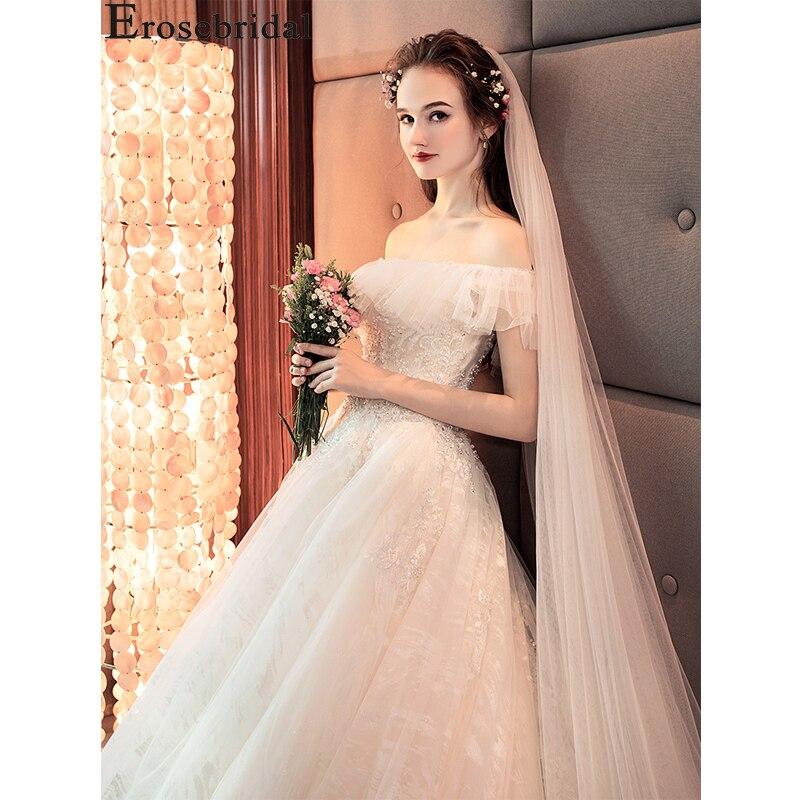 Erosebridal Summer Beach Wedding Dress Lace Wedding Gown off the Shoudler vestaglia sposa White Wedding Mariage Simple Dress