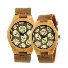 Wooden Women Men's Quartz Watches Leather Skull Couple Watch Design Casual Quartz Wrist Watches Relogio