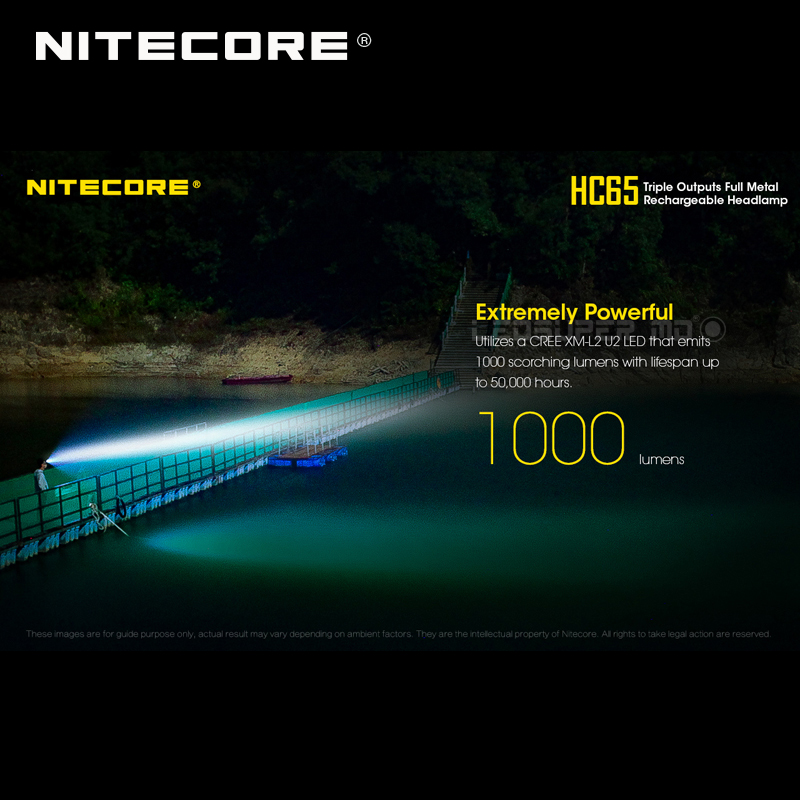 Top 1 Selling Nitecore HC65 CREE XML2-U2 LED 1000 Lumens Triple Output Full Metal Rechargeable Headlamp with Li-ion Battery 1