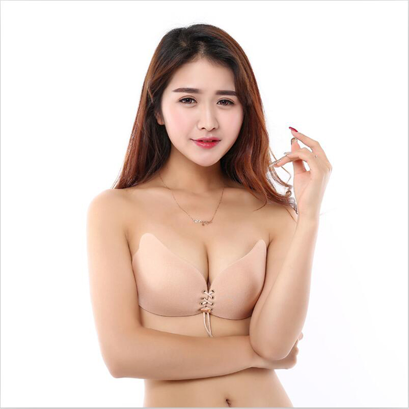 Sexy Strapless Invisible Bra Women Backless Self Adhesive Invisible Bra Push Up Chest Paste Bandage Silicone Solid Bra 5AD41 26