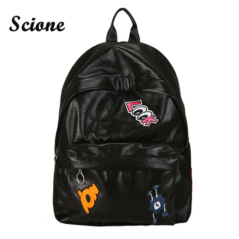 Scione Waterproof Backpack Women School Bag Cute Silver Gold Color Bling Backpack Double Shoulder Bag Daily