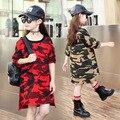 Военный камуфляж дети длинные футболки платье девушки платья одежда девушка с длинным рукавом платье детская одежда 2016 осень