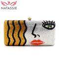 NATASSIE Gold And Silver Luxury Crystal Clutches Bag Women Wedding Purses With Gemstone Charming Lady Face Evening Bags