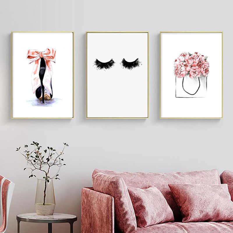 مجردة العين صور فنية للجدران لفتاة ديكور غرفة نوم قماش اللوحة رموش العين الملصقات والمطبوعات الحديثة ديكور المنزل يطبع