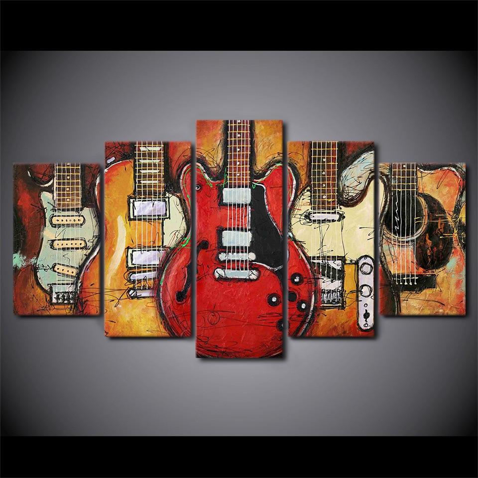 5 pièces HD imprimé toile Art guitare instruments musique peinture décor photos mur Art pour salon mur affiche