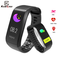 Kaimorui KR02 Smart Bracelet GPS IP68 Waterproof Pedometer Heart Rate Fitness Tracker Color Screen for Xiaomi Android IOS Phone