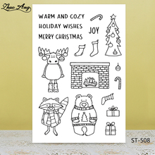 ZhuoAng Christmas Reindeer Bear Tree Clear Stamps/Seals For DIY Scrapbooking/Card Making/Album Decorative Silicon Stamp Crafts lovly cartoon bear design silicon stamps scrapbooking stamp for kids diy paper card wedding gift christmas gift poto albumcl 032
