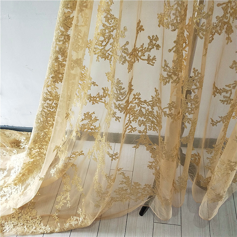 1 Yard Gold Lace Fabric With Golden Sequins! 2018 Top Quality European Style Women Special Occasion Dress Gown Lace Fabric 1yard