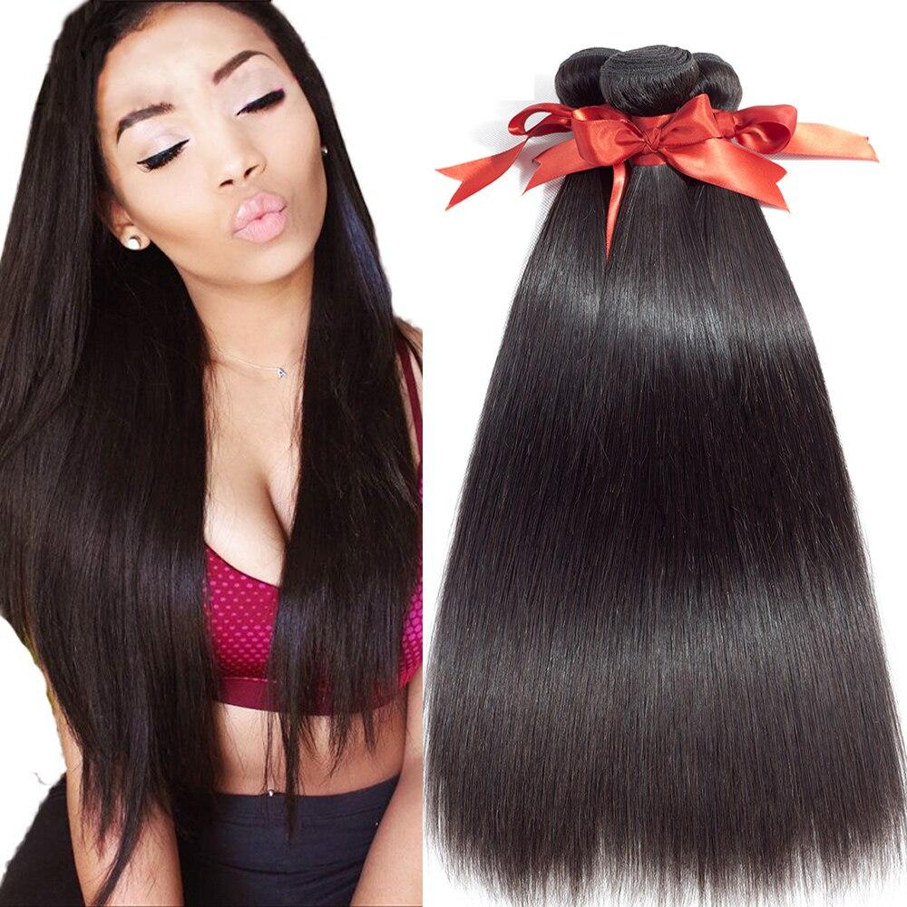 Malaysian Straight Hair 100% Human Hair Bundles Non-Remy Hair Extension Natural Color 4 Bundles Deals