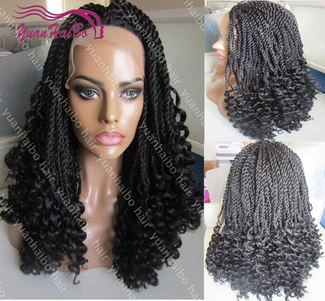 Synthetic Hair Braided Lace Front Wigs High Density Full Hand Tied