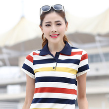 2017 6XL cotton female polo tops fashion women polo shirts tunic striped short sleeve polo femme summer girls polo ralph