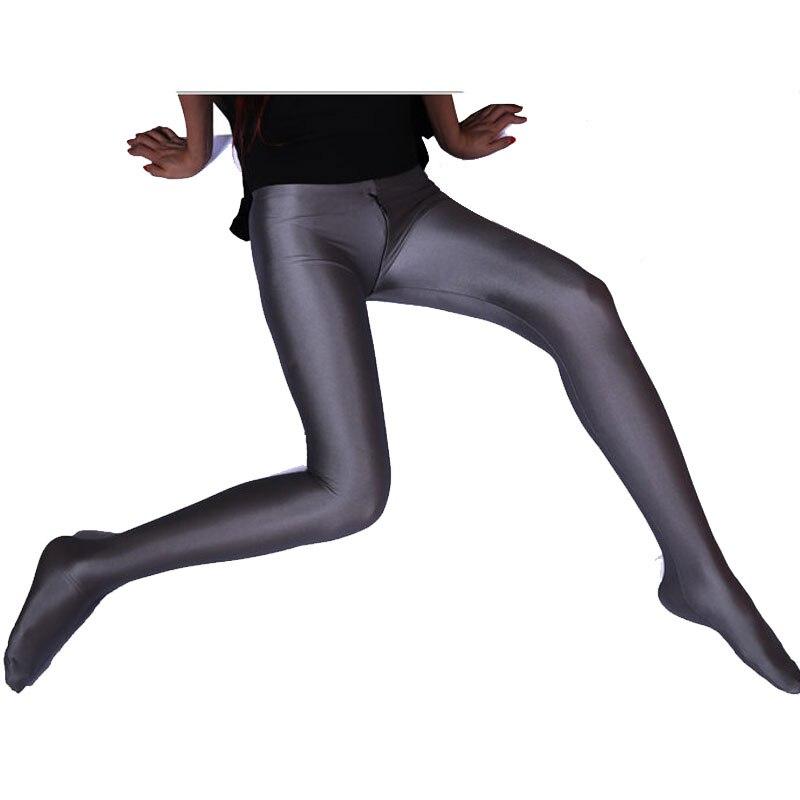 Sexy Femmes Spandex Brillant Deux Sens Fermeture À Glissière Ouvert Entrejambe Leggings Pleine Longueur Bas-taille Crayon Pantalon Érotique Lingerie Plus taille F45