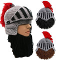 Red Tassel Cosplay Roman Knight Knit Helmet Men's Caps The Original Barbarian Handmade Winter Warm Beard Hats Ski Funny Beanies