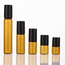 Botella Roll on de cristal ámbar con bola de vidrio, viales para aceites esenciales finos, 50 unidades, 1ml, 2ml, 3ml, 5ml, 10m