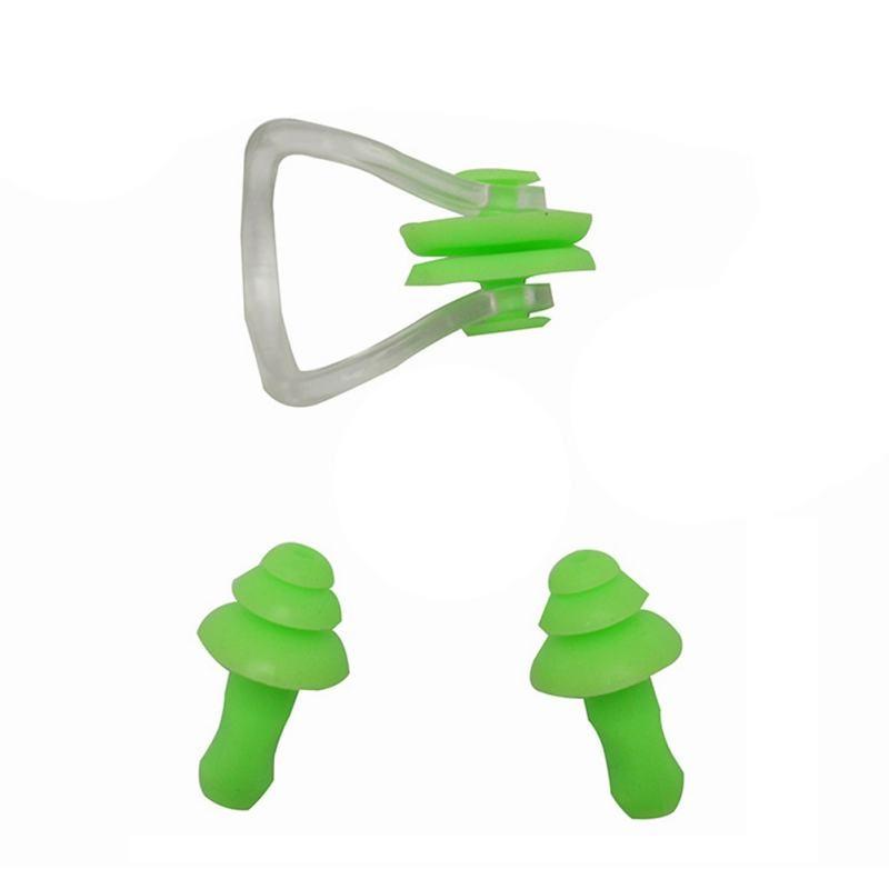 Silicone Swimming Nose Clip Earplug Watertight Set Kit Sports Fitness Swimming Pool Accessories Nasal Splint Ear Plugs New