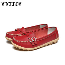 2016 Shoes Woman Genuine Leather Women Shoes Flats 8 Colors Buckle Loafers Slip On Women's Flat Shoes Moccasins Plus Size