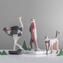 MRZOOT Nordic home geometric color hand-painted ostrich monkey cat kangaroo animal statue sculpture decorative accessories