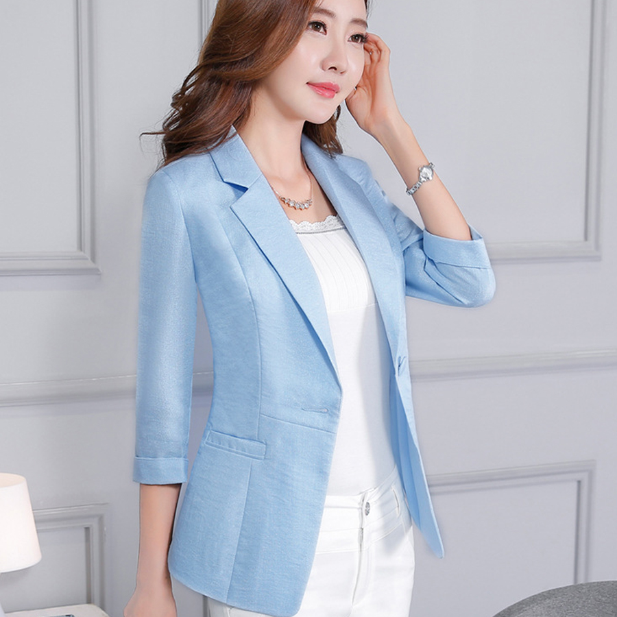 Women Blazer Three Quarter Sleeve One Button Ladies Blazers Casual Temperament V-neck Suit Jacket Female Large Size Blazer Femme