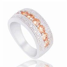 Скворец кубический шампанское цирконий бриллиантами cz свадьбы серебра палец изделий кольца