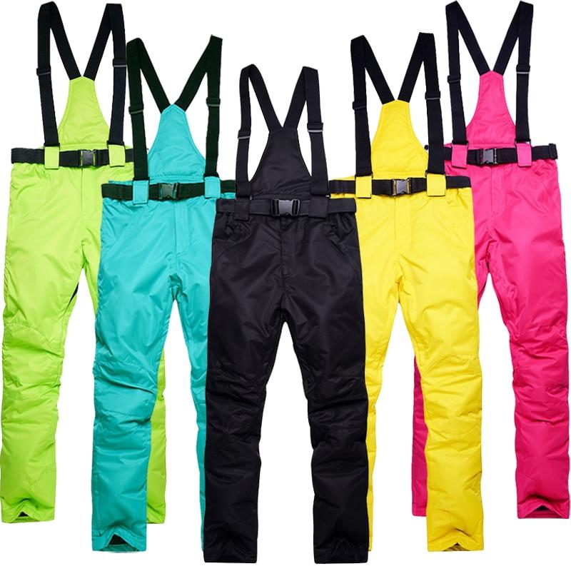 Women Snowboarding Pants Waterproof Windproof Female Snowboard Skiing Bib Pants Ski Trousers Outdoor Mountain Hiking Trousers