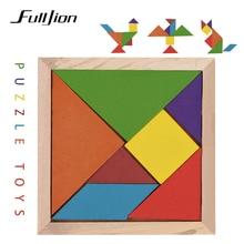 Fulljion Обучающие игрушки-головоломки для детей, деревянные 3d головоломки, Tangram Teaser, головоломка геометрической формы