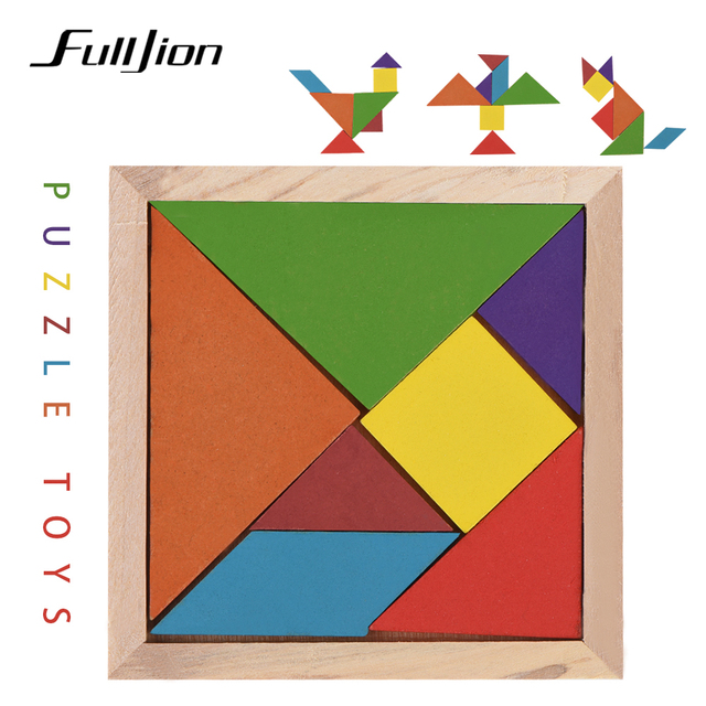 US $0 96 29% OFF Fulljion Learning Education Puzzle Toys For Children Brain  Wooden 3d Puzzle Tangram Teaser Tetris Geometric Shape Jigsaw Game -in