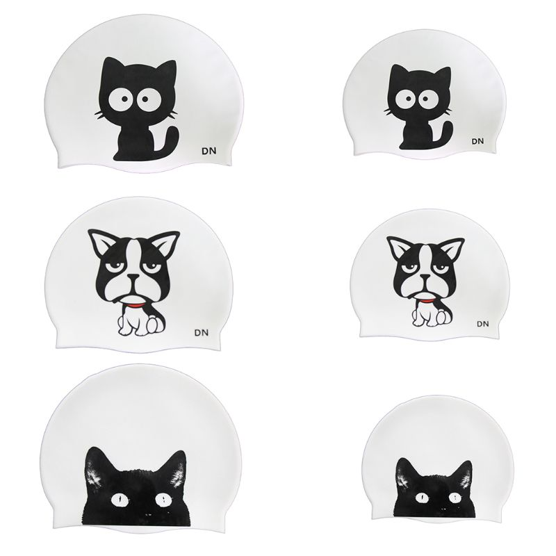 Children Swimming Cap Cute Cartoon Animal Prints Waterproof Protect Ears Cover Soft Silicone Lightweight Unisex Swimming Cap