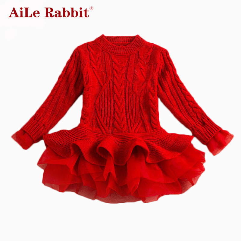 AiLe Rabbit Thick Warm Girl Dress Christmas Wedding Party Dresses Knitted Chiffon Winter Kids Girls Clothes Children CLothing
