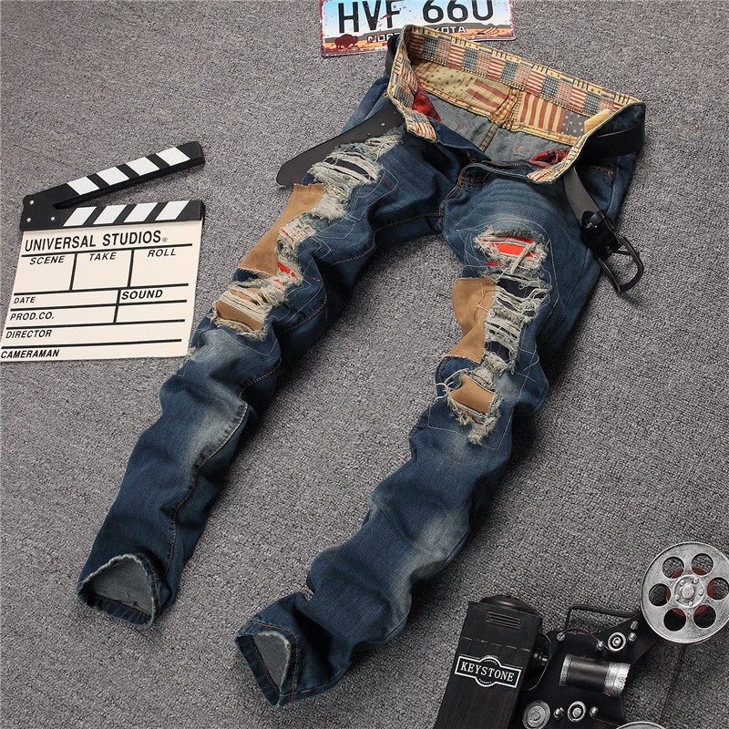 Personality Patchwork Jeans Men Ripped Jeans Fashion Brand Scratched Biker Jeans Hole Denim Straight Slim Fit Casual Pants MB541 2017 fashion patch jeans men slim straight denim jeans ripped trousers new famous brand biker jeans logo mens zipper jeans 604