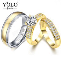 Pure TItanium Luxury Couple Rings Vintage Gold Crystal Cubic Zircon Bridal Ring Set Lord of the Ring New Accessories 2019