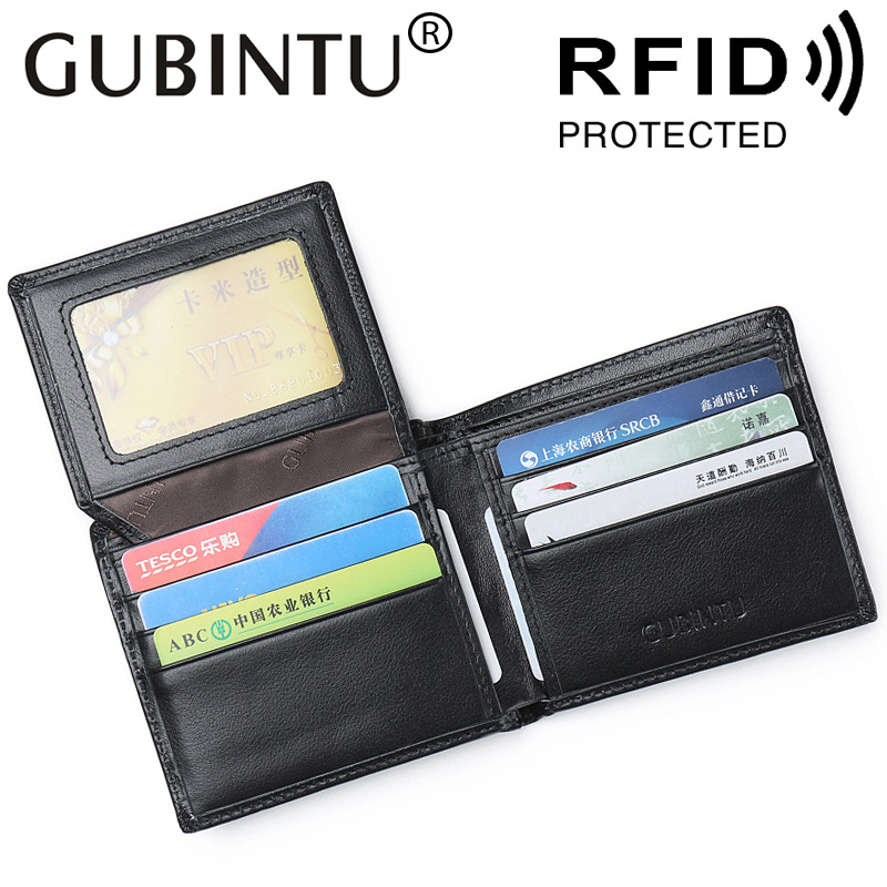 Gubintu Fashion Real Cowhide Genuine Leather Men Rfid Wallet Male Purse Short Perse Small Walet Slim Cuzdan For Vallet Money Bag
