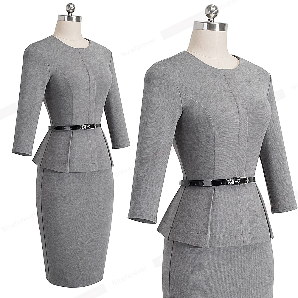 Nice-forever Vintage Elegant Wear to Work with Belt Peplum vestidos Business Party Bodycon Office Career Women Dress B473 8
