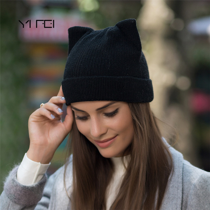 YIFEI Cute Kitty Beanie Hat For Women Girl Winter Real Wool Cat's Ear Cap Skullies Gorras Solid Women Autumn Winter Knitted Hat veithdia women autumn winter knitted hats cute kitty beanie hat for women girls winter wool cap skullies gorras 607