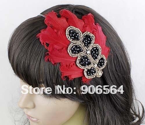 3 Цвета Винтаж гусиное перо ободок для волос женские вуалетки шляпы красные аксессуары для волос для свадьбы со стразами 3 шт./партия